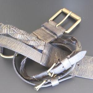 Linea Pelle Belt--Leather w Brass Buckles NWOT M